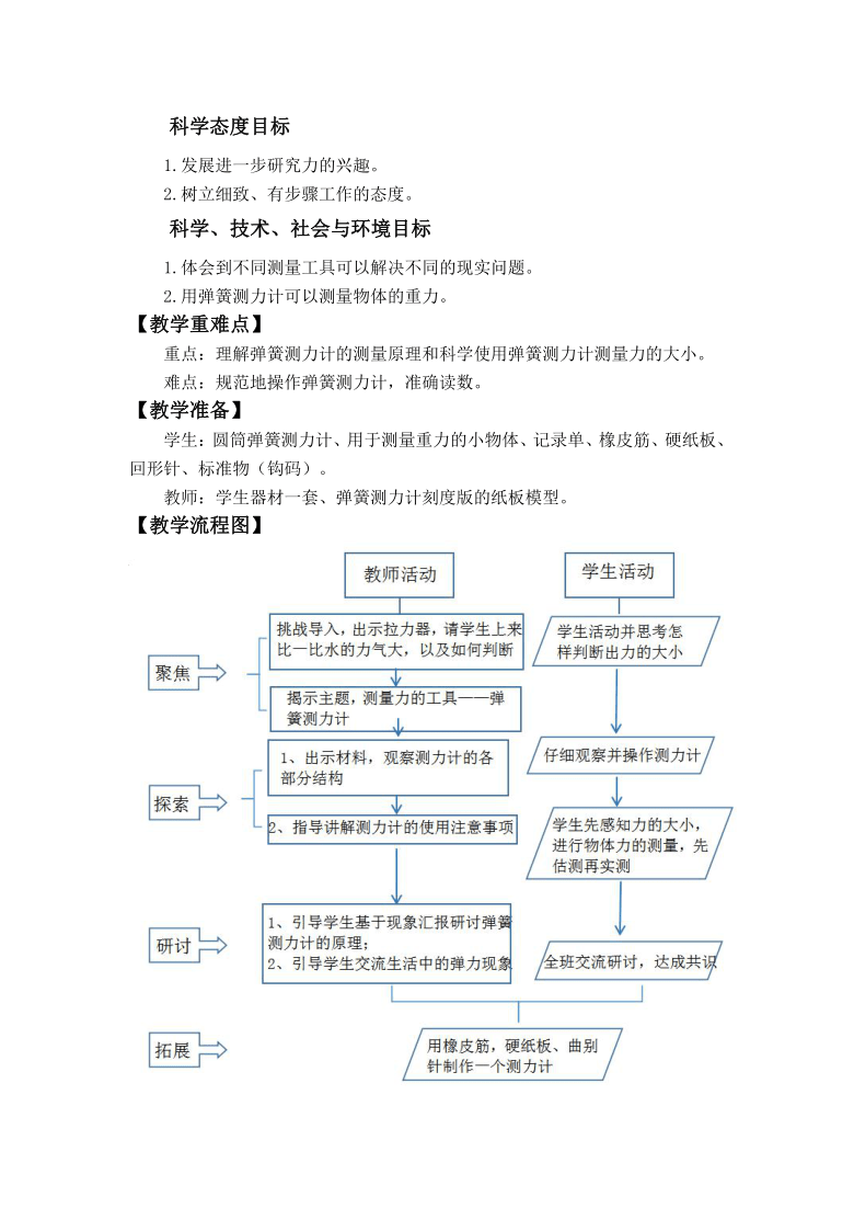 教科版(2017秋) 四年级上册3-4《弹簧测力计》教学设计