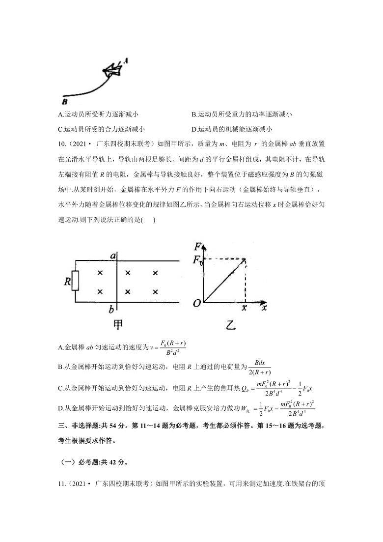 2021届高考物理各省模拟试题汇编卷 广东专版( Word版含答案)