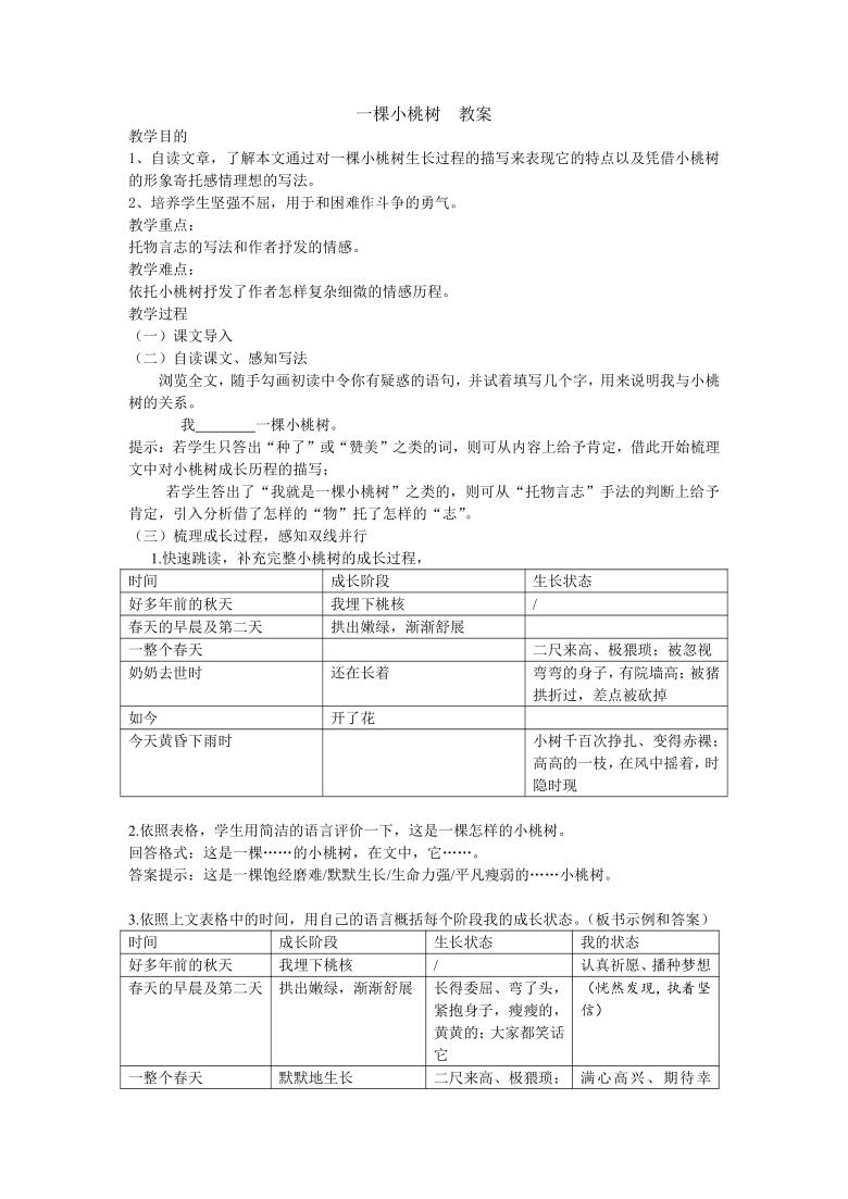 部编版七下语文 19一棵小桃树 教案