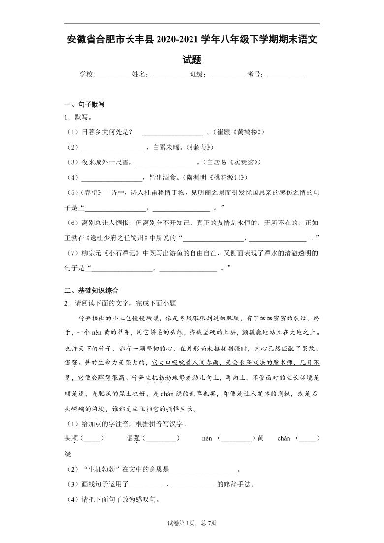 安徽省合肥市长丰县2020-2021学年八年级下学期期末语文试题(word版 含答案)