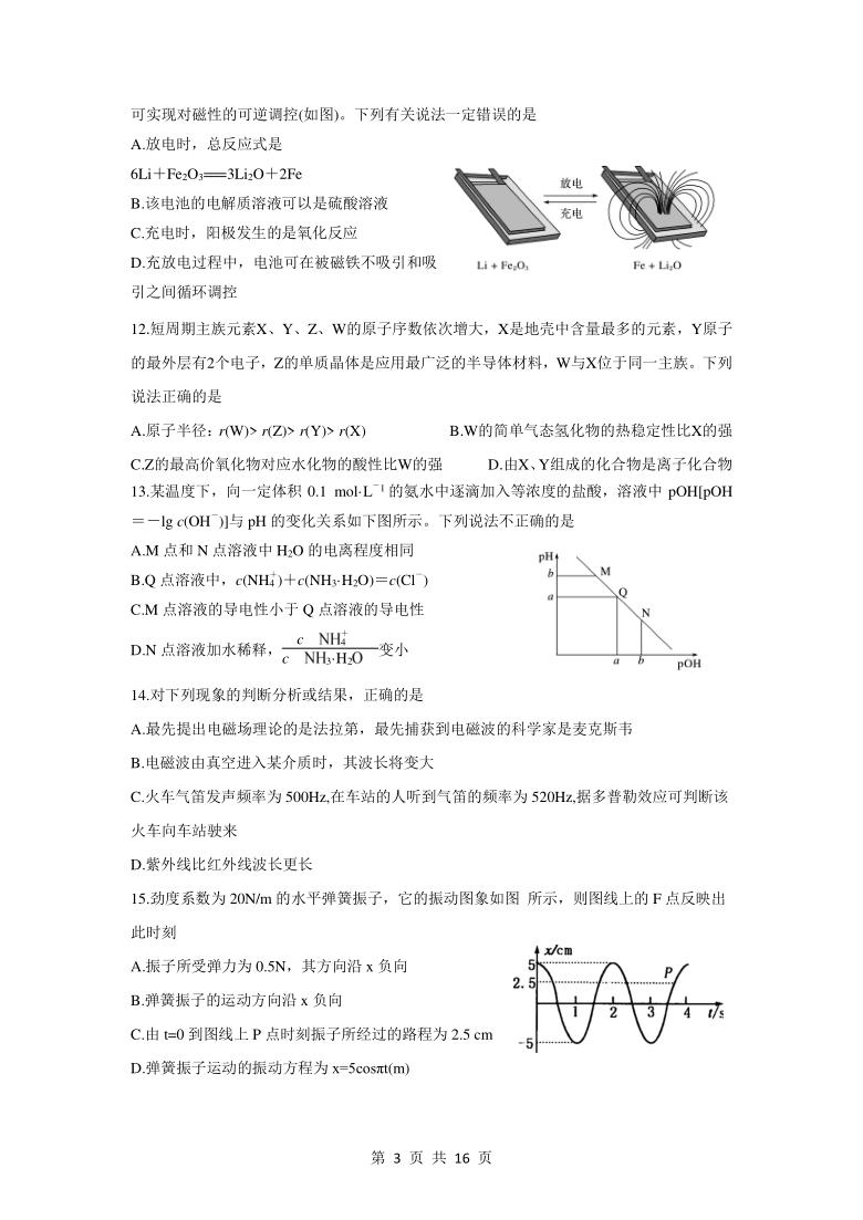 四川省雅安市高中2020-2021学年高二下学期期中考试理科综合试题 Word版含答案
