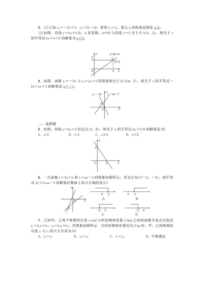 2.5一元一次不等式与一次函数 同步练习题(Word版 含答案)