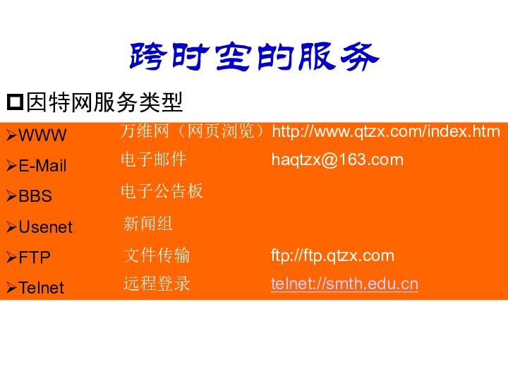 教科版高中信息技术(网络技术应用模块)课件:因特网的服务类型 (共18张PPT)