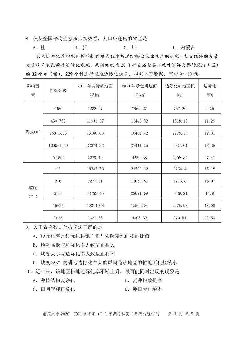 重庆第八高级中学校2020-2021学年高二下学期期中考试地理试题 Word版含答案