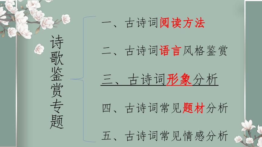 2022届高考专题复习:诗歌鉴赏专题形象分析(课件26张)