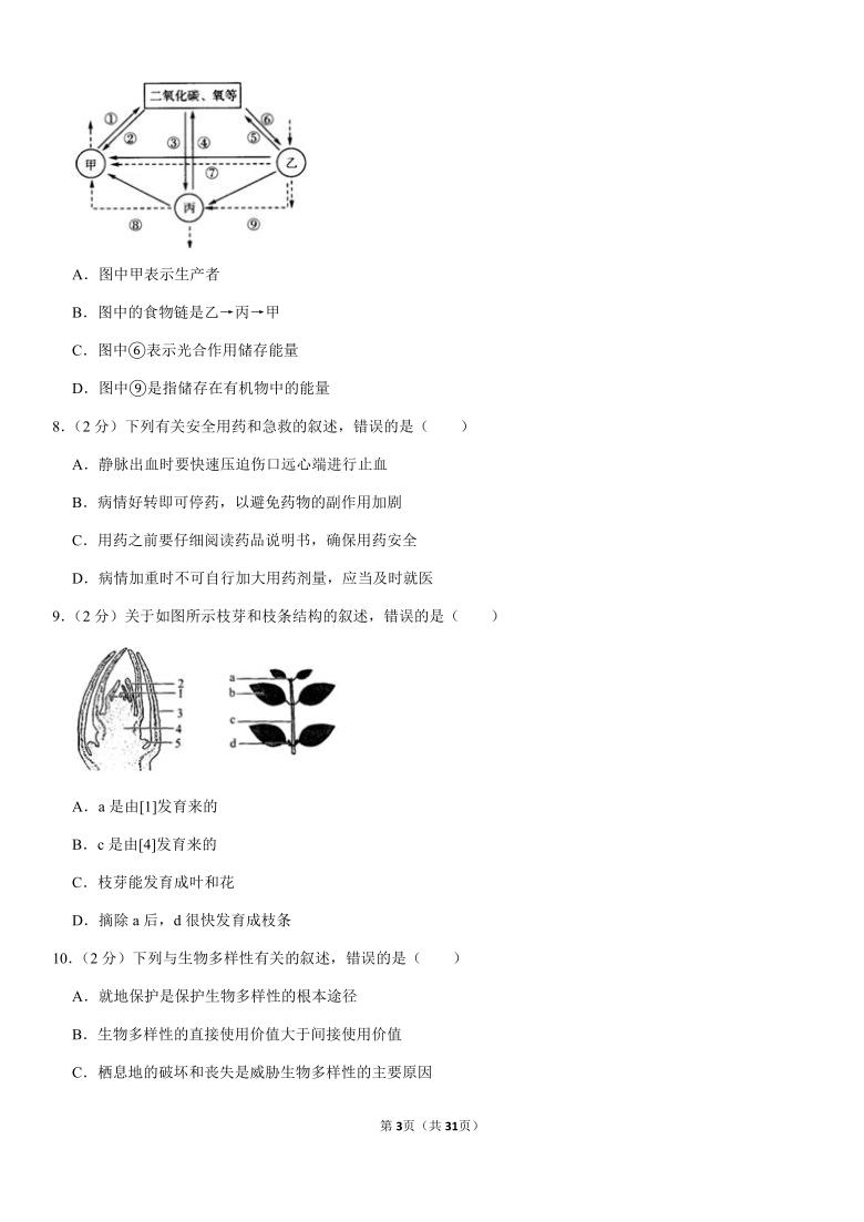 2020年山东省济南市莱芜区中考生物试卷Word版含答案解析