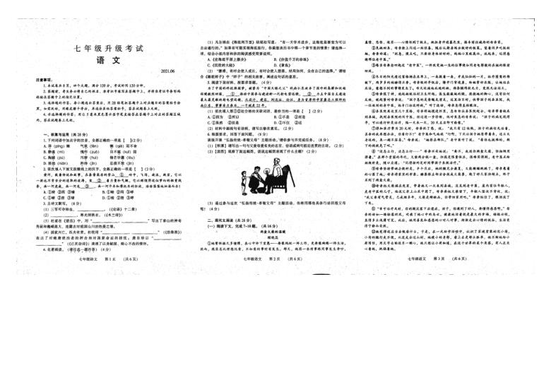 河南省濮阳市台前县2020-2021学年下学期七年级语文期末试题(扫描版,无答案)