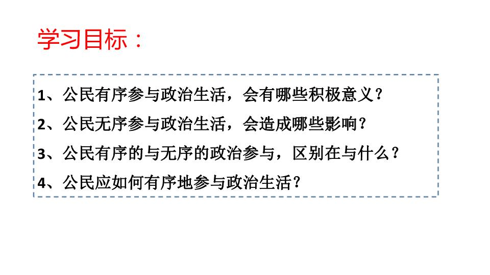 高中思想政治人教版必修2政治生活第一单元 综合探究 有序与无序的政治参与(共24张PPT)24张PPT
