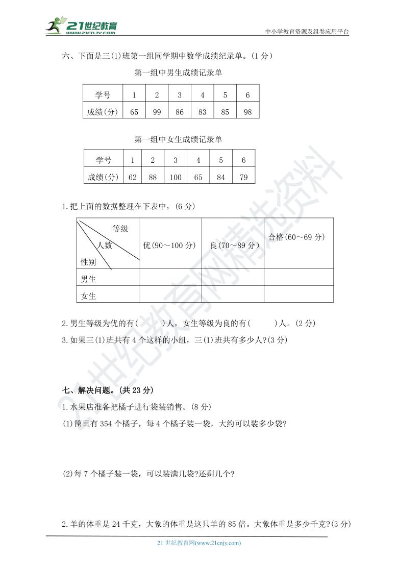 人教版数学三下 期中过关检测卷(含答案)