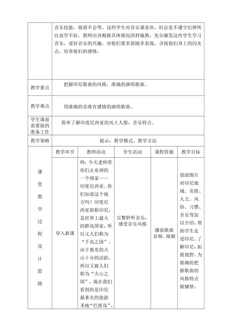 人教版 四年级下册音乐 第四单元 唱歌 木瓜恰恰恰 教案(表格式)