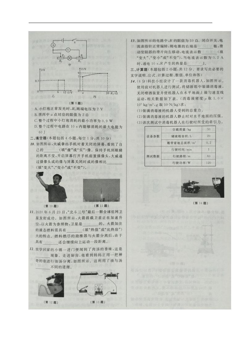 辽宁省盘锦市2020年中考物理试题(图片版,无答案)