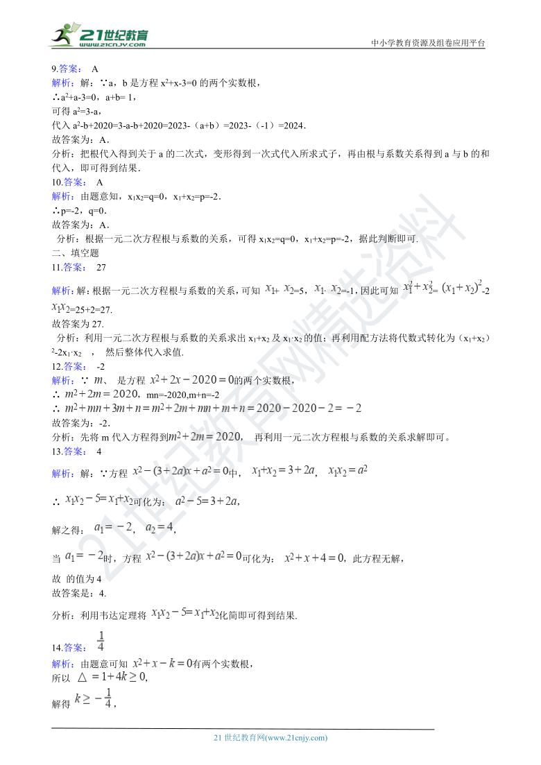 初中数学浙教版八年级下学期期中复习专题4 一元二次方程根与系数的关系