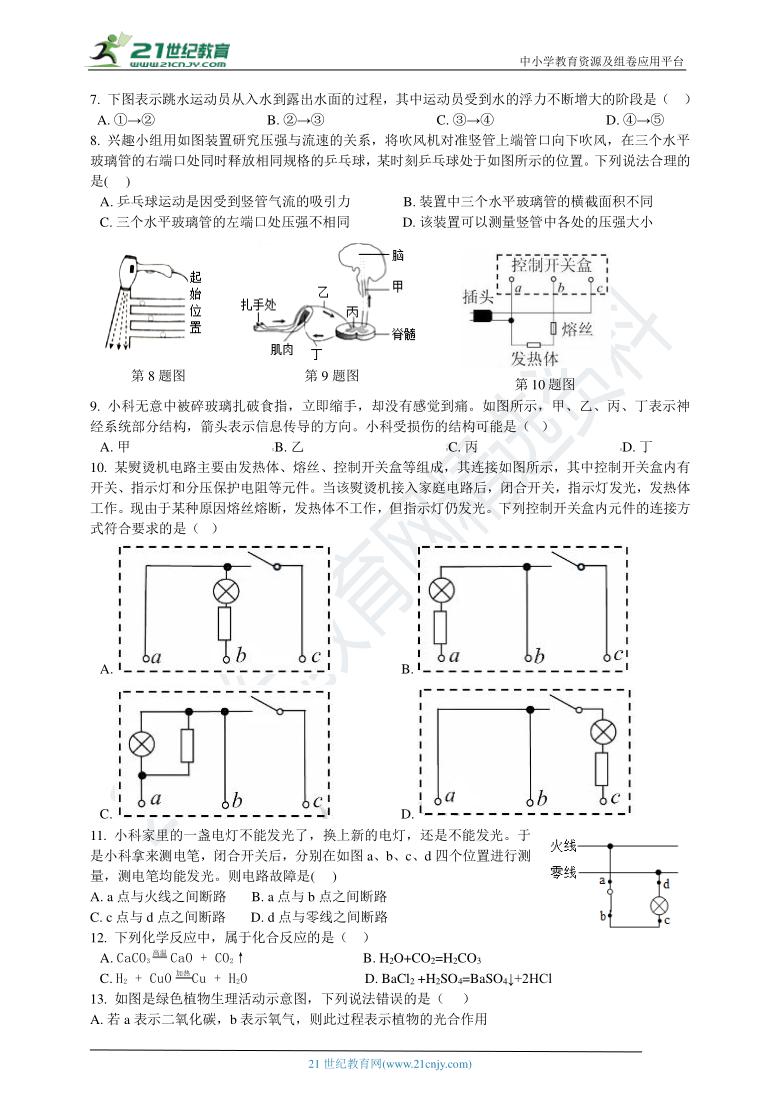 2021年初中科学中考模拟卷2 含解析(适合金华、嘉兴、杭州、湖州、衢州)