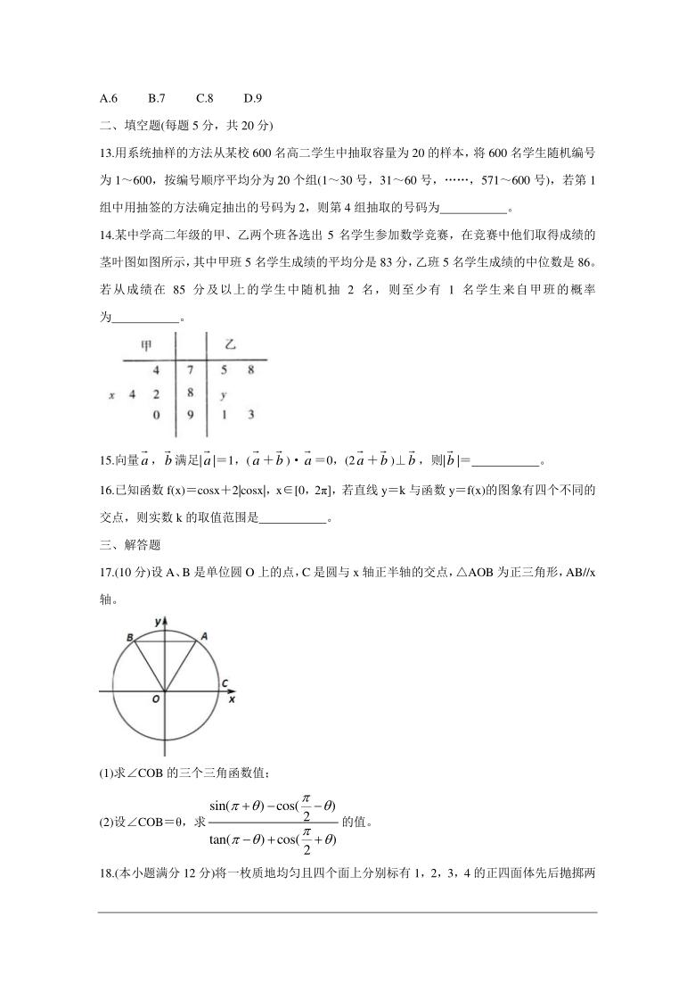 河南省部分名校2020-2021学年高一下学期期末考试数学试题 Word版含答案析