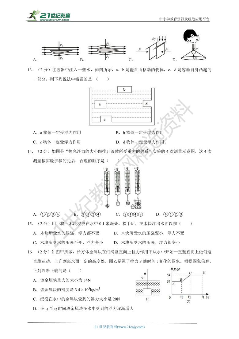 广东省深圳市2020-2021学年八年级物理(下)期中试卷(A卷)(解析版)