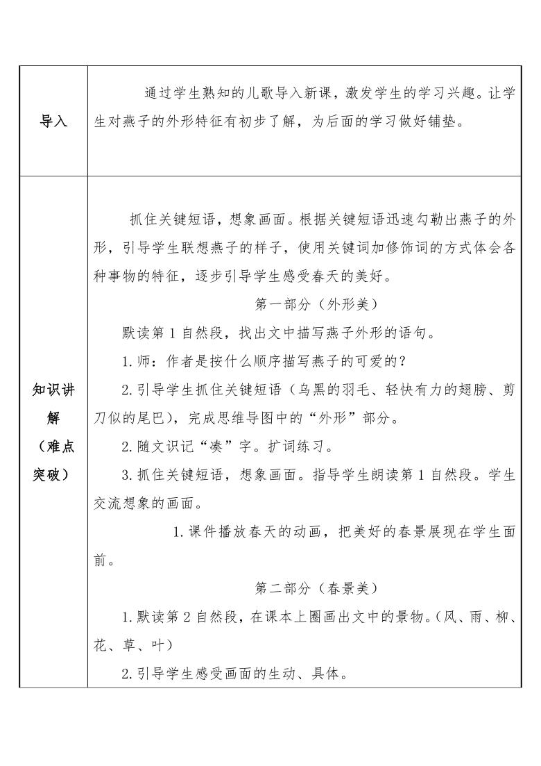 部编版 三年级语文下册-2 燕子 教案(表格式)