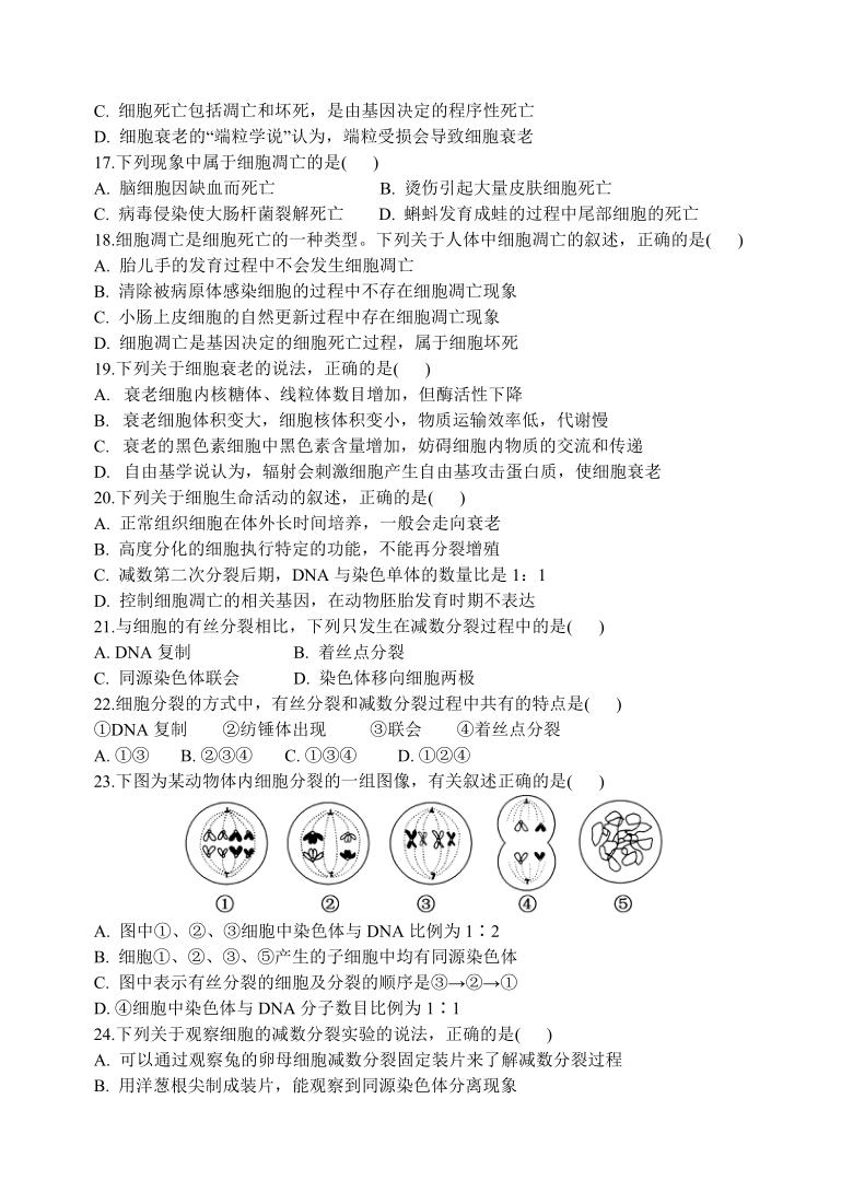 重庆市江津区高中2020-2021学年高一下学期期中考试生物试题 Word版含答案