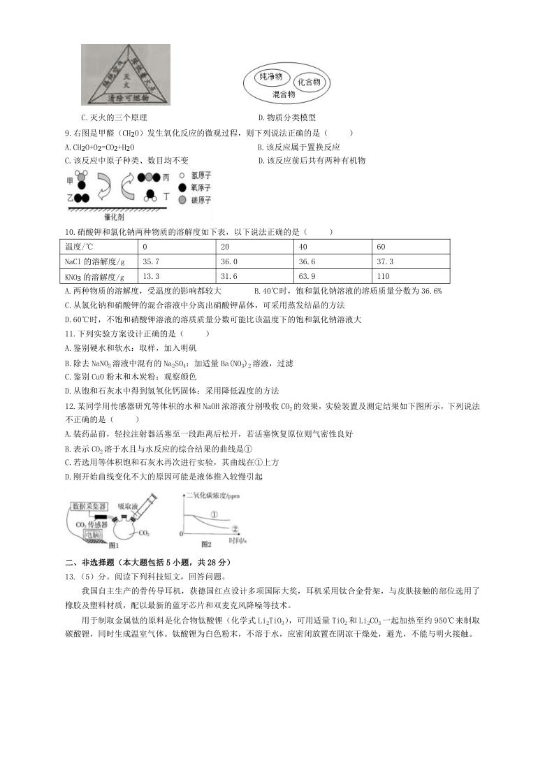 安徽合肥包河区实验学校2021年中考二模九年级化学试卷(word版含答案)