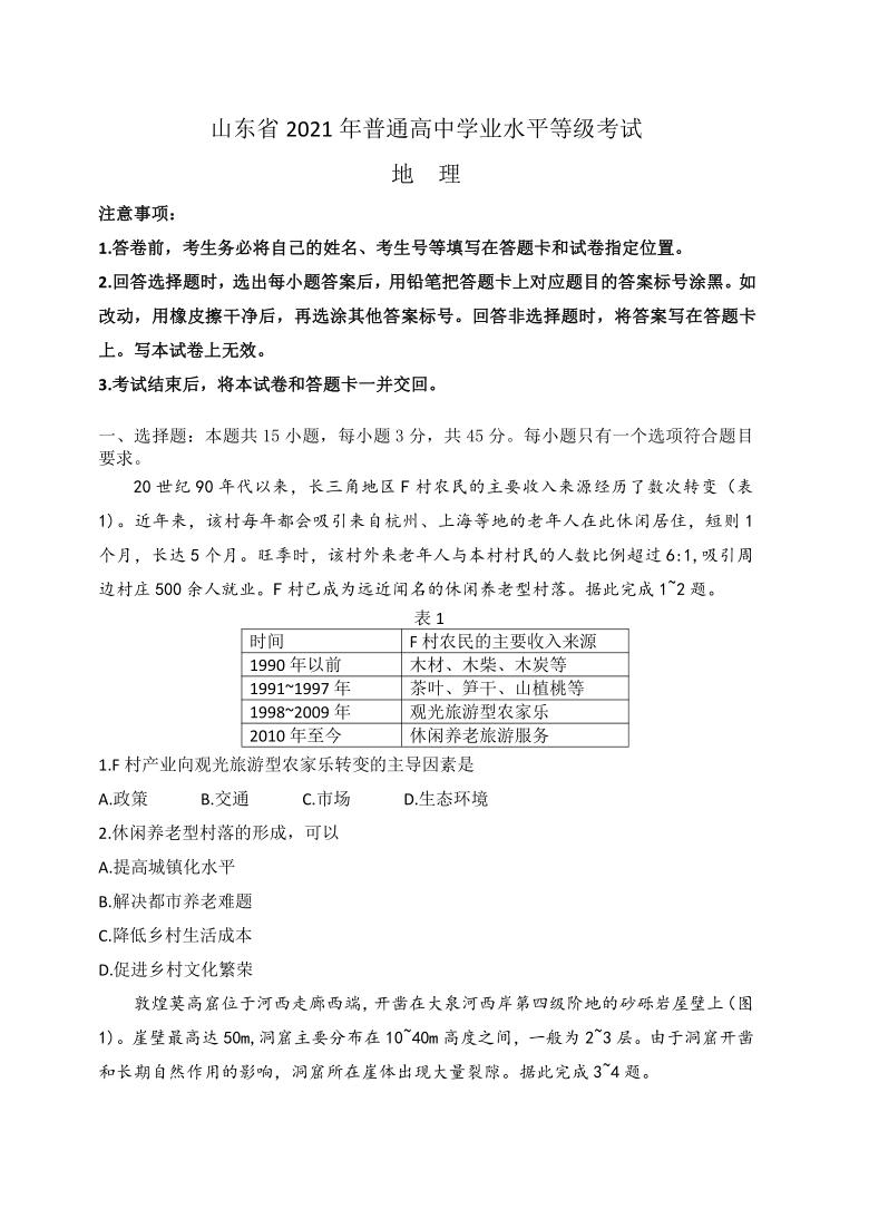 山东省2021年普通高中学业水平等级考试 地理试题 Word版含答案