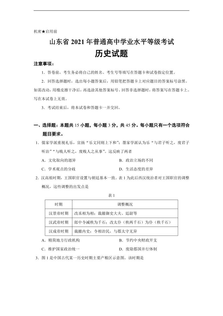 2021年山东省普通高中学业水平等级考试历史试题【精校稿,有官方标准答案】