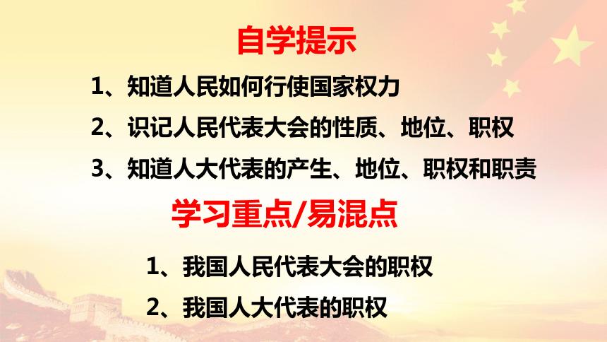 高中政治人教版必修二政治生活 6.1 人民代表大会:国家权力机关 课件(共21张PPT)+2内嵌视频