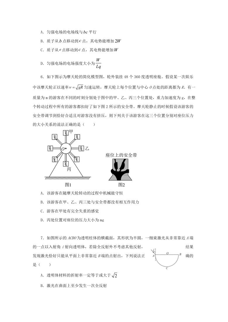 2021山东省高考压轴模拟卷 物理+Word版含解析