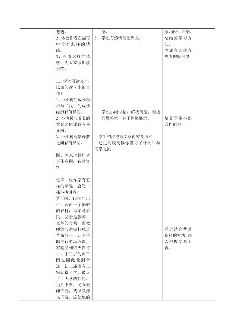 第19*课《一棵小桃树》 教案(表格式)