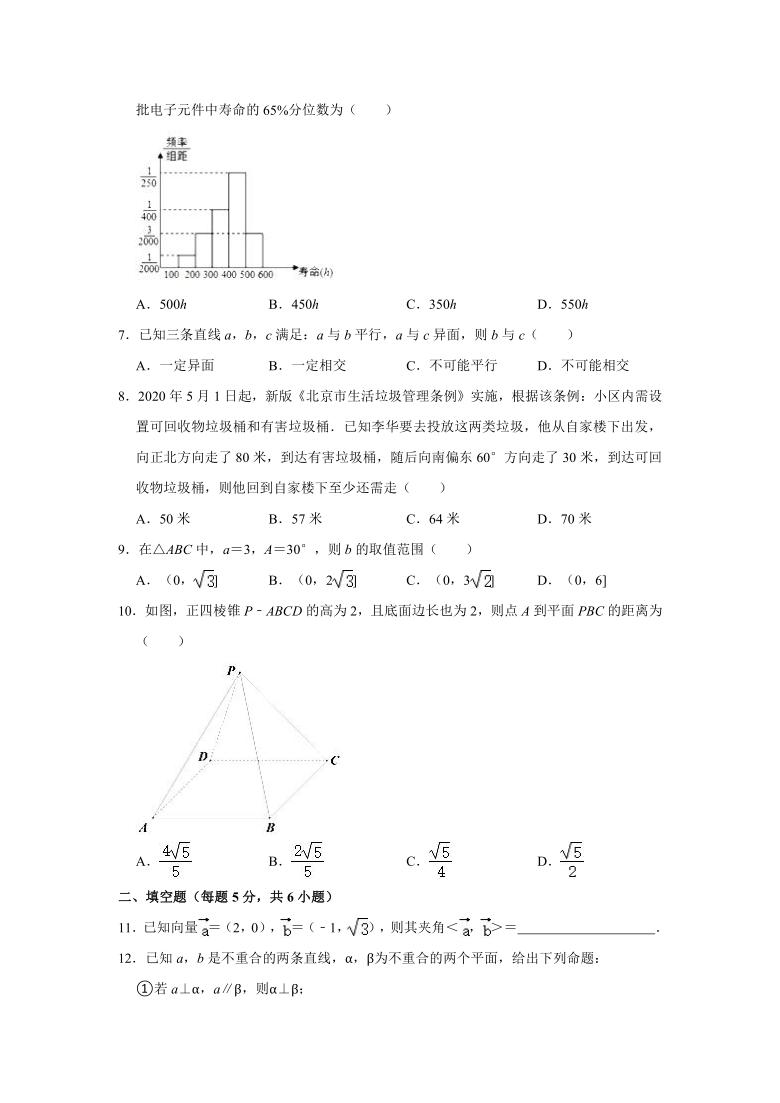 2020-2021学年北京市东城区汇文高一(下)期末数学试卷(word解析版)