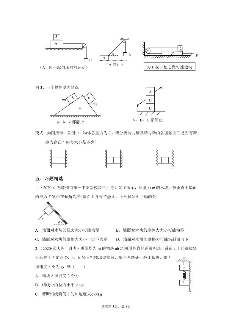 人教版高一物理必修一第三章《相互作用》重点专题:受力分析(基础篇)