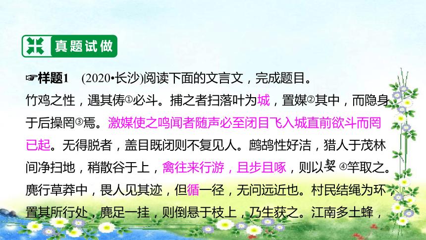 湖南省长沙市初中语文中考二轮专题复习--专题9 文言文阅读 课件(共103张PPT)