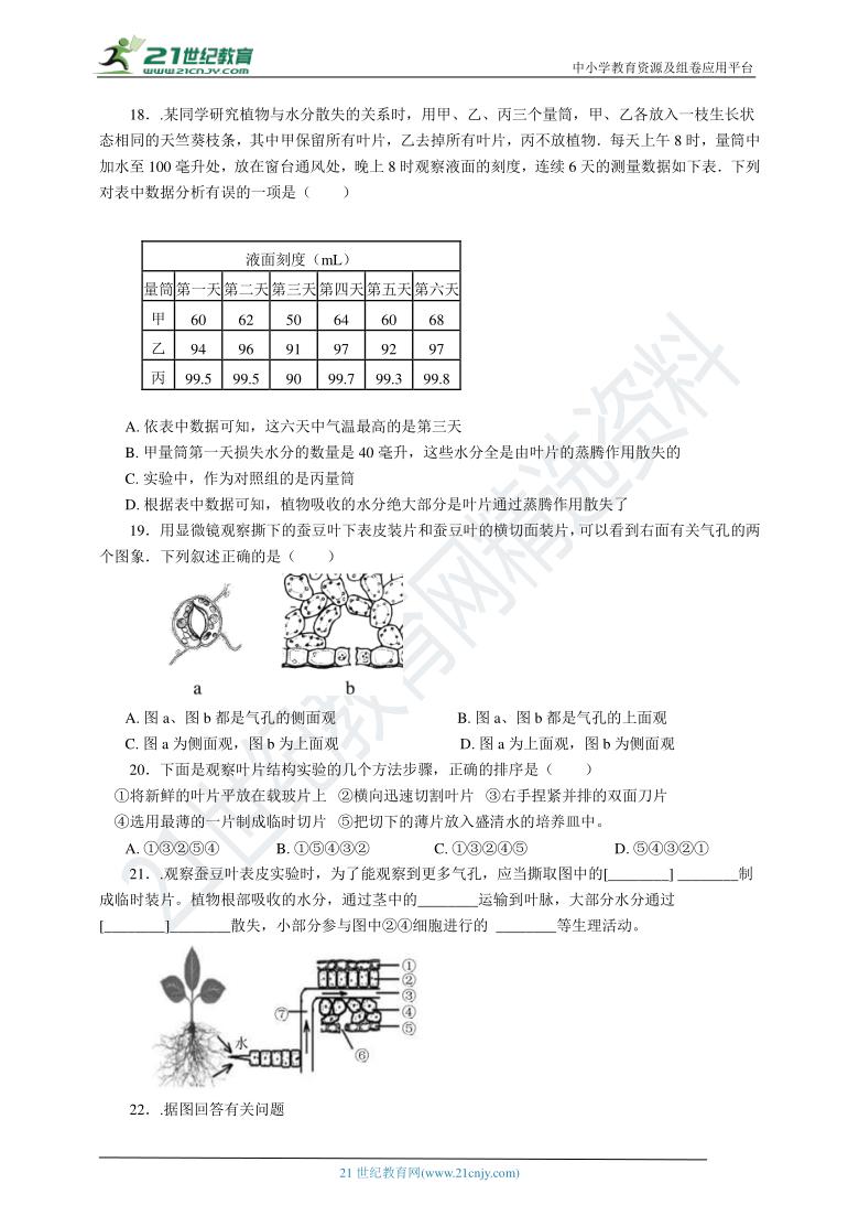 4.5植物的叶与蒸腾作用 复习学案(含解析)
