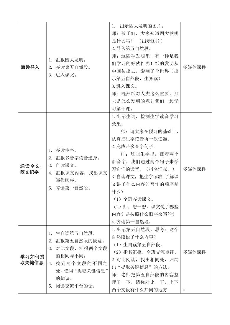 第10课 纸的发明  教案