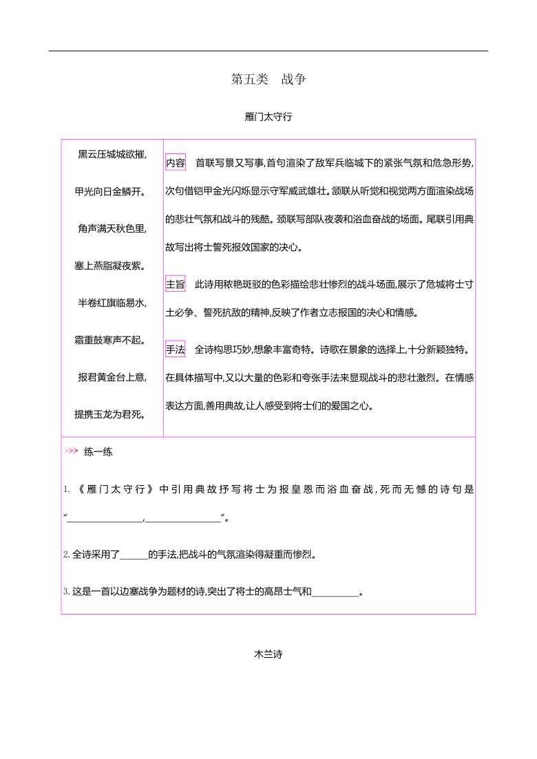 初中语文42篇必背古诗词梳理-第五类 战争—2021届中考语文专项复习