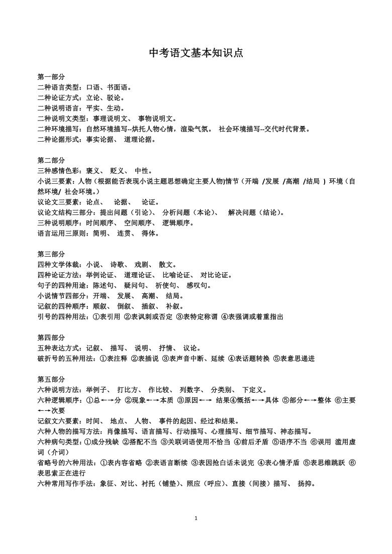 初中语文基本知识点 素材