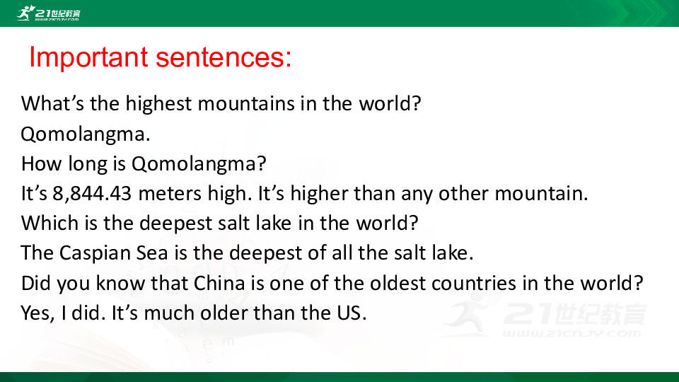 Unit 7 What's the hinghest mountain in the world  Section B  3a-self check课件(共40张PPT)