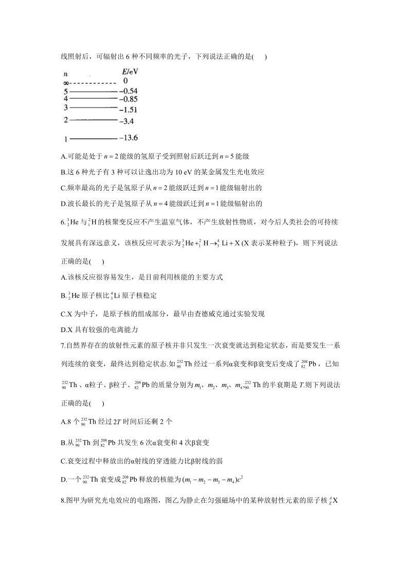 2021届高考物理二轮复习常考题型大通关(新高考)(十二)近代物理初步