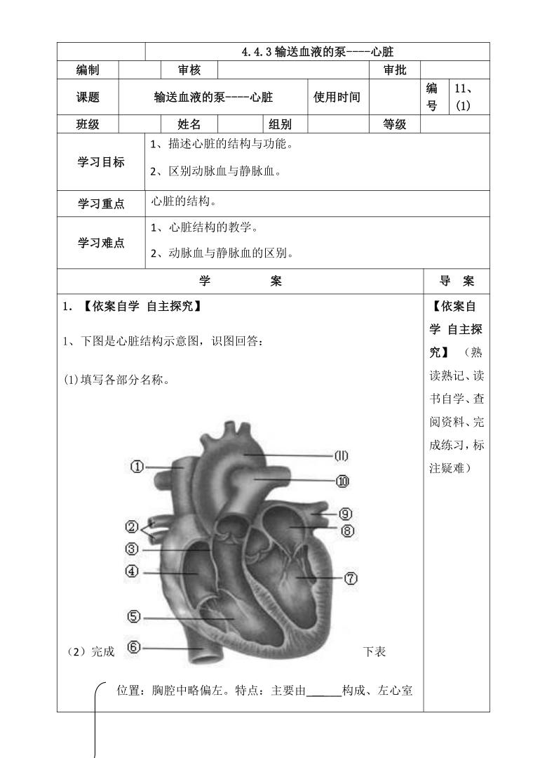 人教版七年级下册生物4.4.3  输送血液的泵-心脏导学案(无答案)