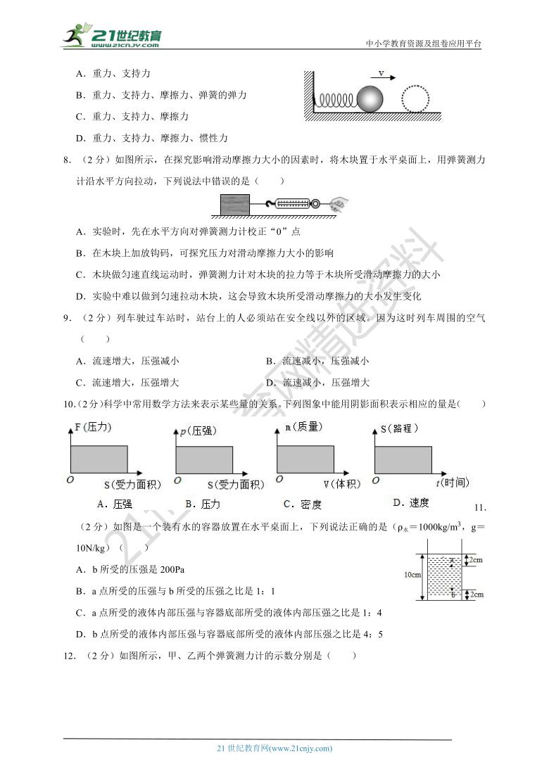 广东省深圳市2020-2021学年八年级物理(下)期中试卷(B卷)(解析版)