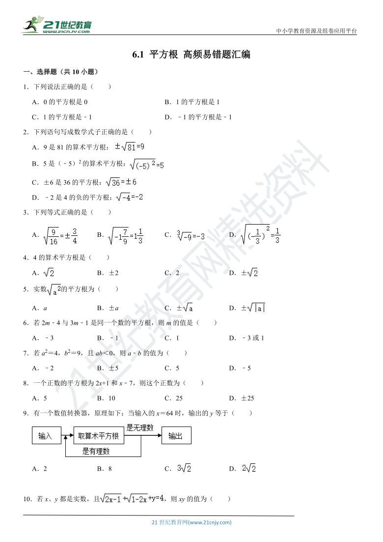 6.1 平方根 高频易错题汇编(含解析)